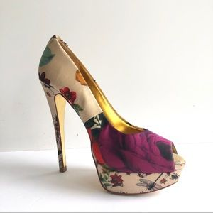 Ted Baker Carlina Peep-Toe Floral Pumps